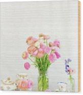 Painterly Ranunculus Tea Time Wood Print