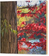 Painterly Rendition Of Red Leaves And Tree Trunk In Autumn Wood Print