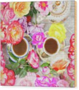 Painterly Tea Party With Fresh Garden Roses II Wood Print