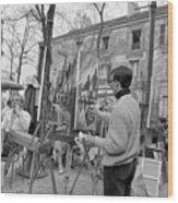 Painters In Montmartre, Paris, 1977 Wood Print