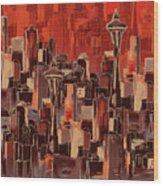 Painting 773 1 Seattle Skyline Wood Print