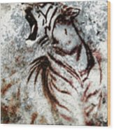 Painting Abstract Tiger Collage On Color Abstract  Background  Rust Structure Wildlife Animals Wood Print