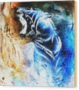 Painting Abstract Tiger Collage On Color Space Background Wildlife Animals. Wood Print