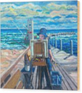 Painting at the Pier Wood Print