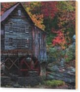 Painting Babcock State Park Glades Creek Grist Mill West Virginia Wood Print