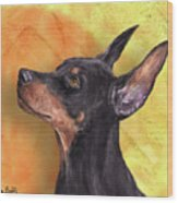 Painting Of A Cute Doberman Pinscher On Orange Background Wood Print