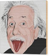 Painting Of Albert Einstein Wood Print by Setsiri Silapasuwanchai