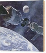 Painting Of Apollo-soyuz Test Project Wood Print