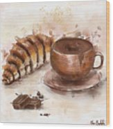 Painting Of Chocolate Delights, Pastry And Hot Cocoa Wood Print