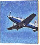 Painting Of Daedalus Demo Team Of Hellenic Air Force Flying A T-6a Texan II Wood Print