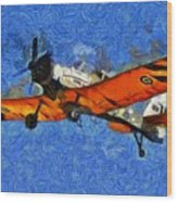 Painting Of Pezetel Aircraft Of Hellenic Air Force Wood Print