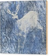 Painting Of Young Deer In Wild Landscape With High Grass. Graphic Effect. Wood Print