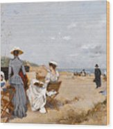 Painting On The Beach  Wood Print