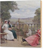 Painting On The Terrace Wood Print