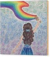 Painting Rainbow Wood Print