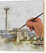 Painting Seattle Wood Print