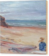 Painting The Coast - Scenic Landscape With Figure Wood Print