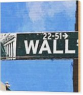 Painting Wall Street Wood Print