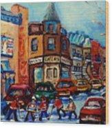 Paintings Of Montreal Hockey On Fairmount Street Wood Print