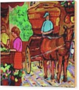 Paintings Of Montreal Streets Old Montreal With Flower Cart And Caleche By Artist Carole Spandau Wood Print