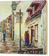Paintings Of Quebec Landmarks Aux Anciens Canadiens Restaurant Rainy Morning October City Scene  Wood Print