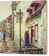 Paintings Of Quebec Landmarks Aux Anciens Canadiens Restaurant Rainy Morning October City Scene  Wood Print by Carole Spandau