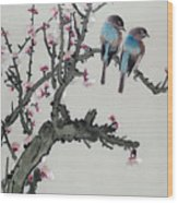 Pair Of Birds On A Cherry Branch Wood Print