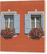 Pair Of Blue Shutters Wood Print