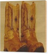 Pair Of Cowboy Boots Wood Print by Russell Ellingsworth