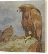 Pair Of Golden Eagles By Thorburn Wood Print