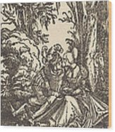 Pair Of Lovers In A Landscape Wood Print
