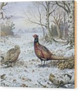 Pair Of Pheasants With A Wren Wood Print