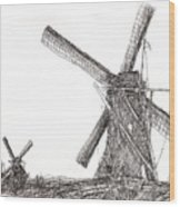 Pair Of Windmills 2016 Wood Print
