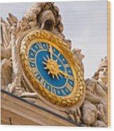Palace Of Versaille Exterior Clock Wood Print