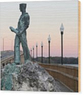 Palatka Memorial Bridge Navy Wood Print