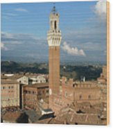 Palazzo Pubblico And Campo Siena Wood Print