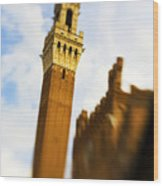 Palazzo Pubblico Tower Siena Italy Wood Print