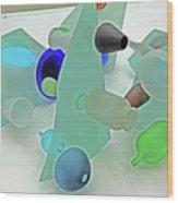 Pale Pastel Whites Gray Background Angles Rounds Blues Grays Yellow Orange Black Greens 2 9132017 Wood Print