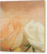 Pale Peach And White Roses Wood Print
