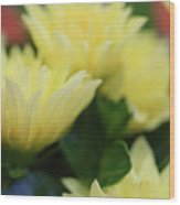 Pale Soft And Yellow Flower Abstract At Sunset Wood Print