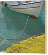 Paleohora Fishing Boat Wood Print