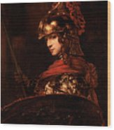 Pallas Athena  Wood Print by Rembrandt