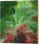 Palm And Azaleas Wood Print