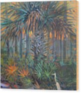 Palm And Egret Wood Print