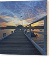 Palm Beach Wharf At Dusk Wood Print by Avalon Fine Art Photography