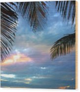 Palm Curtains Wood Print