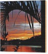 Palm Framed Sunset Wood Print