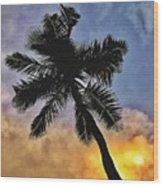 Palm On The Beach Wood Print