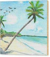 Palm Over Diani Beach Wood Print