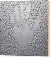 Palm Print On Wet Metal Surface Wood Print